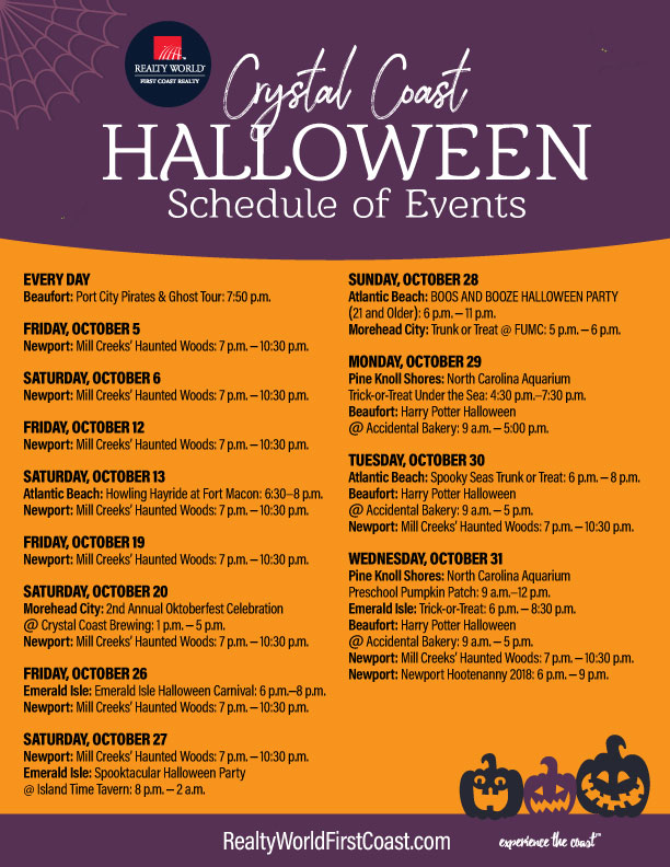 Crystal Coast Halloween Events - Printable