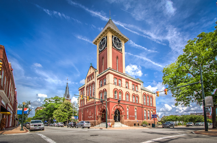 The iconic city hall clock tower in Downtown New Bern